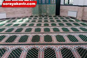 اجرای سجاده فرش مسجد تشریفاتی طرح یاسین سبز