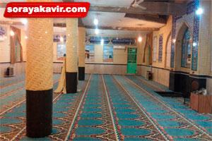 اجرای فرش سجاده ای مسجد طرح محتشم آبی