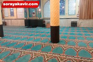 اجرای فرش سجاده ای مسجدی طرح محتشم آبی