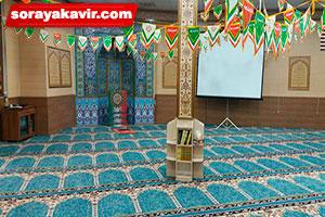 سجاده فرش برای مسجد با رنگ آبی طرح آسایش