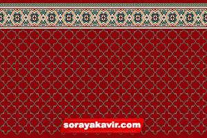 سجاده فرش تشریفاتی مسجد قرمز زرشکی طرح شمسه