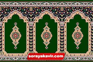 سجاده فرش سبز طرح ثریا ( Green Soraya Prayer Rug Roll )