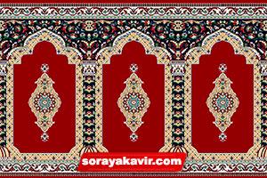 سجاده فرش قرمز طرح ثریا ( Red Soraya Prayer mat Roll )