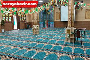 سجاده فرش مسجدی با رنگ آبی طرح آسایش