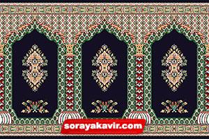 سجاده فرش کاشان - سجاده فرش محرابی سرمه ای طرح سلطان