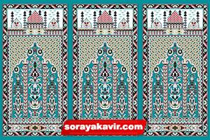 سجاده نماز کاشان - سجاده فرش محرابی آبی فیروزه ای طرح عروج