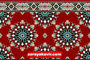 سجاده فرش تشریفاتی مسجد قرمز زرشکی طرح پردیس ترنج