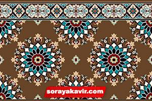 فرش تشریفاتی سجاده ای برای مساجد با رنگ گردویی طرح پردیس ترنج