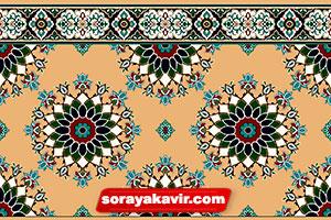 سجاده فرش تشریفاتی مسجد رنگ کرم طرح پردیس ترنج