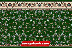 فرش تشریفات مسجد سجاده فرش طرح افشان کاشان رنگ زمینه سبز
