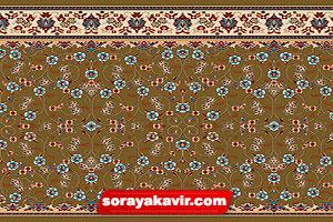فرش مسجدی تشریفاتی رنگ قهوه ای گردویی طرح افشان
