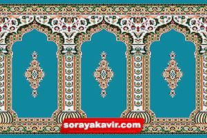 فرش سجاده ای آبی طرح رضوان فرش سجاده ای مسجدی ثریا کویر کاشان