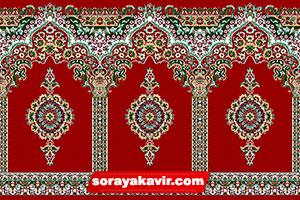 فرش سجاده ای کاشان - سجاده فرش محرابی قرمز زرشکی طرح بارگاه