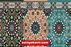 نمونه مسجد فرش شده با فرش سجاده تشریفاتی طرح کاشیکاری کرم