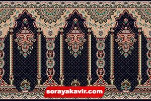 فرش سجاده نماز کاشان - سجاده فرش محرابی سرمه ای طرح مناره