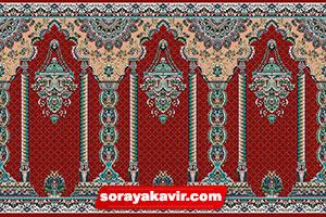 فرش سجاده نماز کاشان - سجاده فرش محرابی قرمز زرشکی طرح مناره