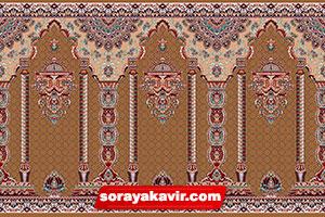فرش سجاده نماز کاشان - سجاده فرش محرابی قهوه ای شکلاتی طرح مناره