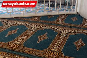 فرش سجاده کاشان با رنگ آبی طرح رضوان