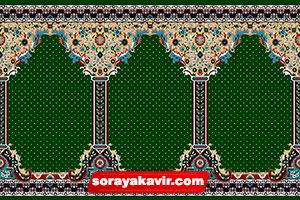 فرش سجاده کاشان - سجاده فرش محرابی سبز یشمی طرح طوبی
