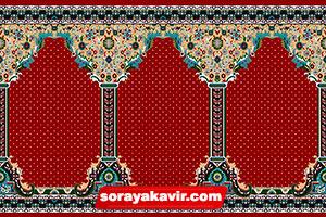 فرش سجاده کاشان - سجاده فرش محرابی قرمز زرشکی طرح طوبی