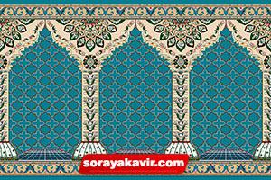 فرش سجاده ی محرابی کاشان - سجاده فرش محرابی آبی فیروزه ای طرح جنات
