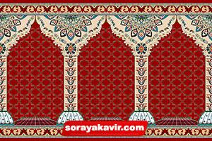 فرش سجاده ی محرابی کاشان - سجاده فرش محرابی قرمز زرشکی طرح جنات