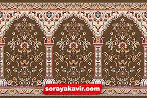 فرش سجاده ی کاشان - سجاده فرش محرابی قهوه ای شکلاتی طرح طاها