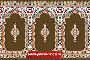 فرش محرابی قهوهای گردویی طرح رضوان فرش محرابی مسجدی ثریا کویر کاشان