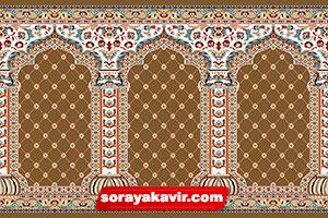 فرش محرابی مسجدی کاشان با رنگبندی قهوهای