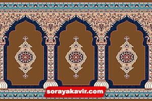فرش محرابی مسجد رنگ قهوهای عرفان