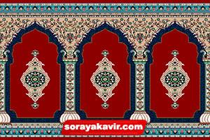فرش مساجد رنگ قرمز روناسی طرح عرفان