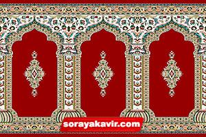 فرش مسجد قرمز روناسی طرح رضوان فرش مسجد سجادهای ثریا کویر کاشان