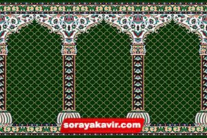 فرش مسجد کاشان - سجاده فرش محرابی سبز یشمی طرح محراب