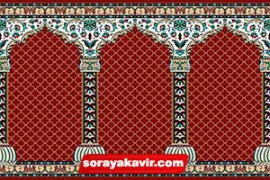 فرش مسجد کاشان - سجاده فرش محرابی قرمز زرشکی طرح محراب