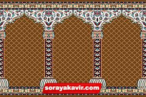فرش مسجد کاشان - سجاده فرش محرابی قهوه ای شکلاتی طرح محراب