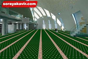 سجاده فرشی - فرش سجادهای مسجد بدون محراب طرح نگین زمرد (سجاده فرش کاشان)