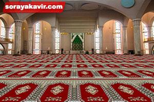 نمونه مسجد فرش شده با سجاده فرش کاشان با طرح سلطان