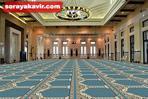 نمونه مسجد فرش شده با فرش سجاده ی محرابی طرح جنات