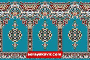 blue prayer carpet roll for mosque - Islamic carpet of Bargah design