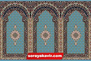 فروش فرش سجاده ای کاشان رنگ آبی طرح کرمان