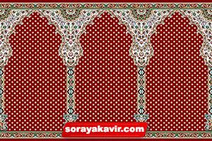 فرش ماشینی مسجد با رنگبندی قرمز روناسی