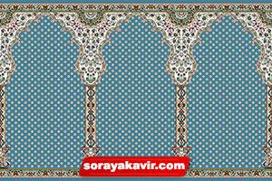 فرش ماشینی سجاده ای با رنگبندی آبی