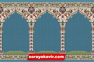 فرش سجاده ای مساجد با رنگبندی آبی فیروزه ای