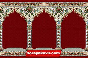 فرش مسجد سجاده ای با رنگ قرمز روناسی
