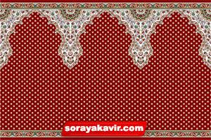 فرش طرح سجاده مسجدی با رنگ روناسی