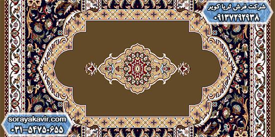 پشتی فرش سجادهای طرح ثریا قهوهای
