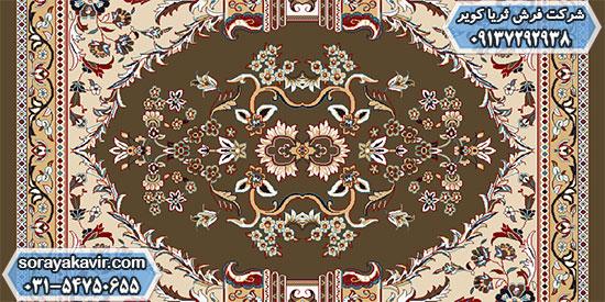 پشتی هم طرح فرش سجاده کاشان طرح طاها قهوهای